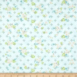 Sunshine Girls Scattered Petals Aqua Fabric