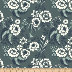Birch Organic Merryweather Floral Canvas Slate Fabric