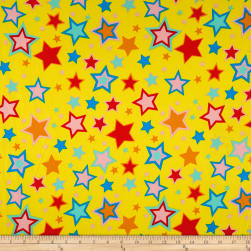 Double Brushed Jersey Knit Multi Stars on Bright