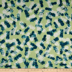 Double Brushed Jersey Knit Pineapple Party Sage Fabric