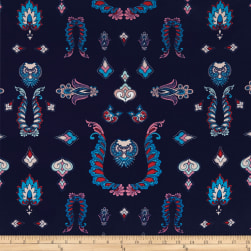 Double Brushed Jersey Knit Majesty Abstract Navy Fabric