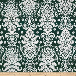 Double Brushed Jersey Knit Damask Floral Ivory/Hunter Fabric