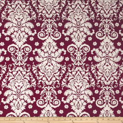 Double Brushed Jersey Knit Damask Floral Ivory/Wine Fabric