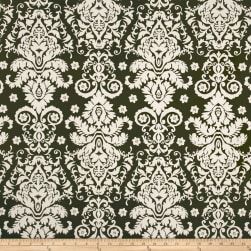 Double Brushed Jersey Knit Damask Floral Ivory/Olive Fabric
