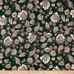 Double Brushed Jersey Knit Abstract Floral Cream/Olive Fabric