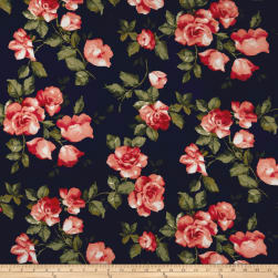 Double Brushed Jersey Knit English Roses Coral/Navy Fabric