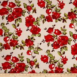 Double Brushed Jersey Knit English Roses Red/Taupe Fabric