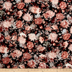 Double Brushed Jersey Knit Floral Garden Mauve/Black Fabric