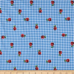 Double Brushed Jersey Knit Plaid and Roses Light Blue Fabric