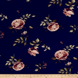 Double Brushed Jersey Knit English Roses Mauve on Navy Fabric