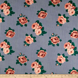 Double Brushed Jersey Knit Stripes and Roses Coral/Navy Fabric
