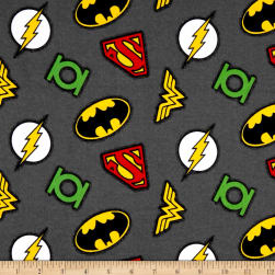 DC Comics Logo Flannel Grey Fabric