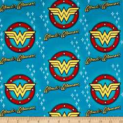 DC Comics Wonder Woman Flannel Cyan Fabric