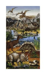 Stonehenge Kids Prehistoric 24'' Panel Earth  Fabric
