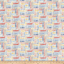 Seafood Shack Words Cream Fabric