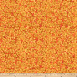 Shimmer Oasis Metallic Flowers Orange Fabric