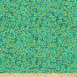 Shimmer Oasis Metallic Flowers Green Fabric