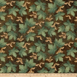 Stonehenge Maplewood Leaves Brown Fabric