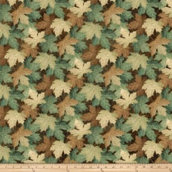 Stonehenge Maplewood Leaves Blue/Brown Fabric