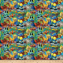 Coral Reef Digital School Of Fish Multi Fabric