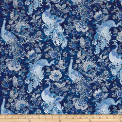 Peacocks In Blue Metallic Etched Peacocks & Paisleys Blue/White Fabric