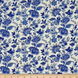 Peacocks In Blue Paisley Floral White/Blue Fabric