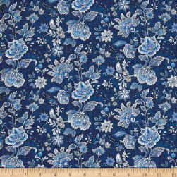 Peacocks In Blue Paisley Floral Blue/White Fabric