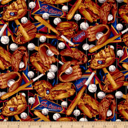 Sporting Tossed Baseballs, Bats, Gloves, & Pennants Black/Multi