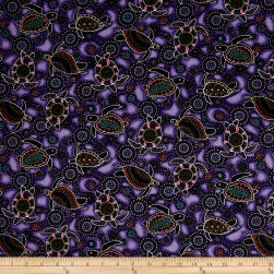 Down Under Aboriginal Tossed Sea Turtles Purple Fabric