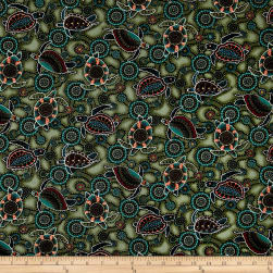 Down Under Aboriginal Tossed Sea Turtles Green Fabric