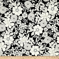 Black Tie Metallic Etched Large Floral Black/White Fabric