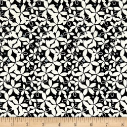 Black Tie Metallic Etched Small Floral Black/White Fabric