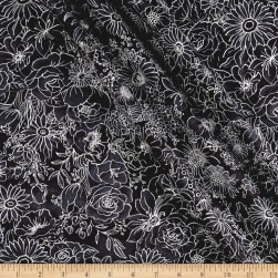Romance Floral Metallic Black/Silver Fabric