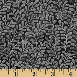 Romance Vines Metallic Black Fabric