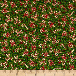Noel Holly & Candy Canes Metallic Green/Multi Fabric
