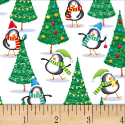 Noel Holiday Penguins White/Multi Fabric