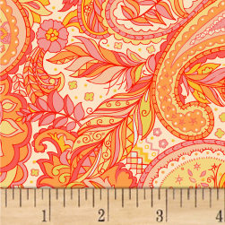 Boho Chic Paisley Feather Maize/Melons Fabric