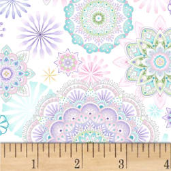 Enchanted Assorted Motifs White/Pastels Fabric