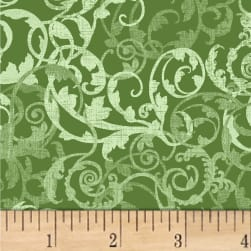 Enchanted Abstract Vines Sage Fabric