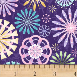 Enchanted Assorted Spirals Grape/Pastels Fabric