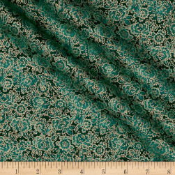 Asian Garden Tonal Floral Metallic Teal
