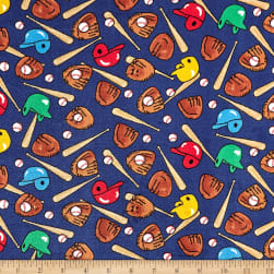 Whisper Plush Fleece Baseball Navy Fabric