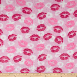 Whisper Plush Fleece Hugs and Kisses Pink Fabric