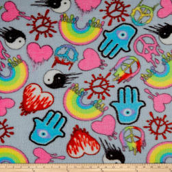 Whisper Plush Fleece Drips Grey Fabric