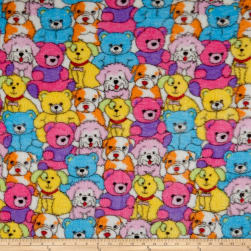 Whisper Plush Fleece Pups and Bears White Multi Fabric