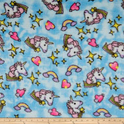 Whisper Plush Fleece Unicorn Turquoise Fabric