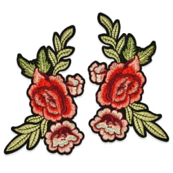 Janna Iron On Embroidered Rose Applique Pair 8