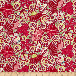 Contempo Meadow Dance Garden Path Red Fabric