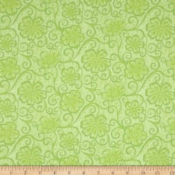 Contempo Meadow Dance Floral Blender Light Green Fabric