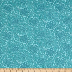Contempo Meadow Dance Floral Blender Turquoise Fabric